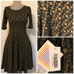 NWT Nicole Dress Brown Autumn Print XS